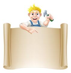 Cartoon carpenter and scroll