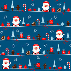 Seamless Pattern Santa Symbols Blue