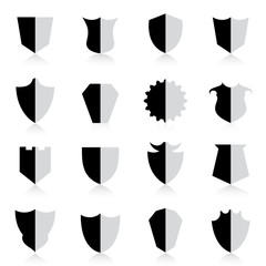 Shield icon set with reflection. Vector Illustration