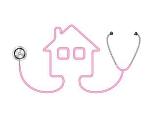 Stethoscope in shape of house in pink design