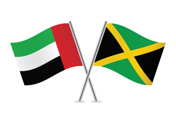 United Arab Emirates and Jamaican flags. Vector illustration.