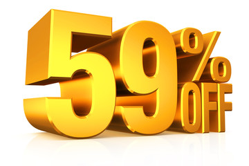 3D render gold text 59 percent off.