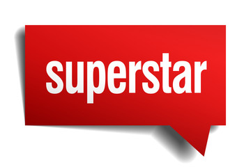 superstar red 3d realistic paper speech bubble
