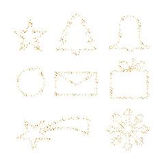 Weihnachtselemente aus goldenen Sternen