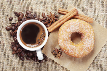Sweet donut and coffee