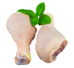free range chicken legs on a white background