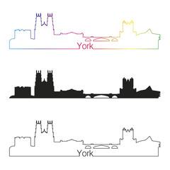 York skyline linear style with rainbow