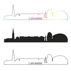 Leicester skyline linear style with rainbow