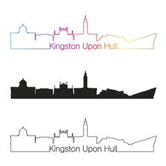 Kingston Upon Hull skyline linear style with rainbow