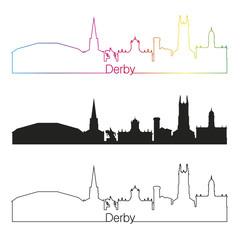 Derby skyline linear style with rainbow