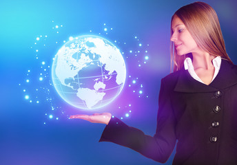 woman showing holding on world map globe.