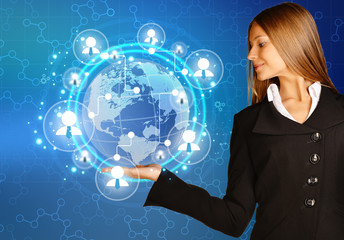 woman showing holding on world map and teamwork people icon.