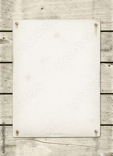 canvas print picture Blank vintage poster nailed on a white wood board