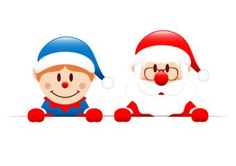 Blue Elf & Santa Banner