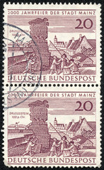 stamp shows Drusus Stone and Old View of Mainz,