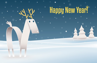 Happy New Year.  Illustration of a reindeer made of folded paper