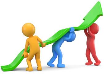 Teamwork grüner Pfeil Aufstieg