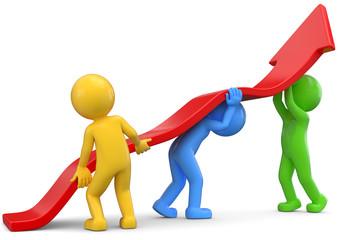 Teamwork roter Pfeil Aufstieg
