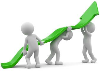 weisse 3d Männchen Aufstieg Teamwork