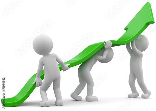 weisse 3d Männchen Aufstieg Teamwork - 71994942