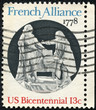 stamp printed in USA shows French Alliance 1778