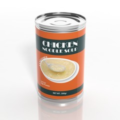 3D noodle soup metallic can isolated on white