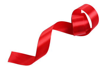 Shiny red satin ribbon isolated on white