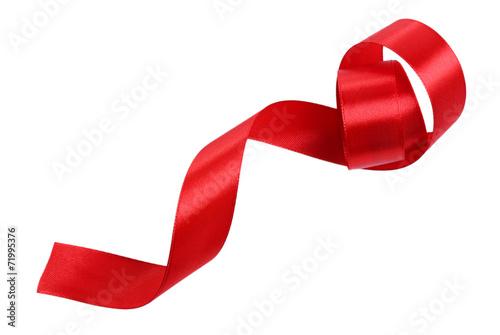 Leinwandbild Motiv Shiny red satin ribbon isolated on white