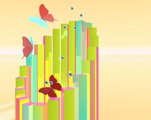Abstracte vlinders in ochtendzon