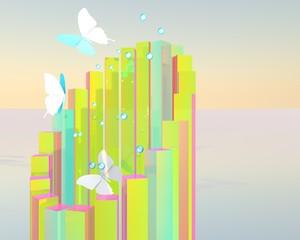 Abstracte toren met vlinders