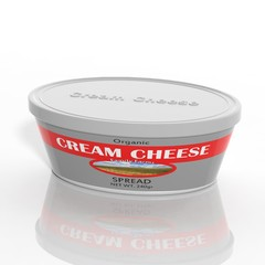 3D cream cheese plastic container isolated on white