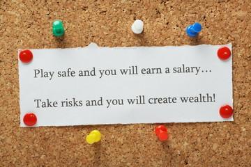 Playing it safe versus taking risks concept for entrepreneurs