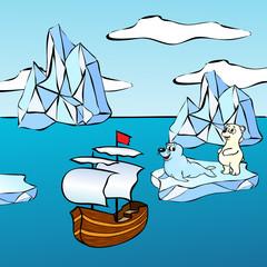 Sheep, icebergs and polar bear