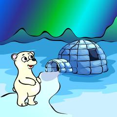 Polar bear, ice yurt igloo and nothern lights