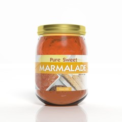 3D marmalade glass jar isolated on white