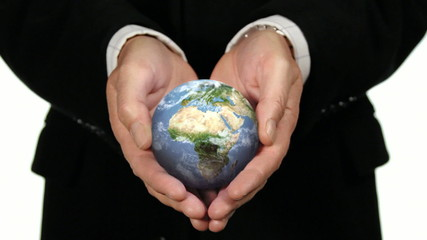 ROTATING EARTH GLOBE IN HANDS