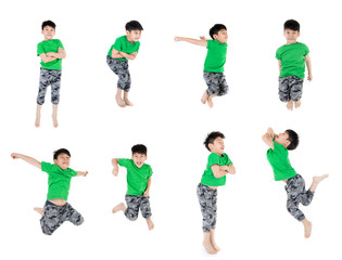Group of Asian cute child is jumping
