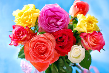 bouquet of colorful roses