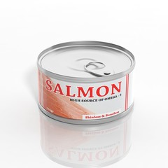 3D salmon metallic can isolated on white