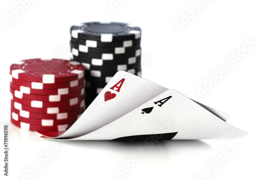 double aces with fiches on white background - 71996598