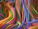 Closeup multicolor cables. Fantasy network. 3d illustration