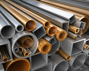 round and square tube and pipe of steel and copper.