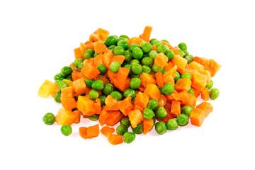Frische Grüne Erbsen mit Karotten