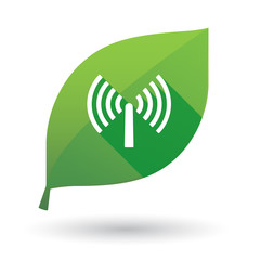 Green leaf icon with an antenna