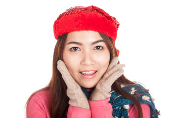 Close up of happy Asian girl with red christmas hat