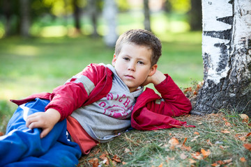 Pretty boy resting on autumn grass in park
