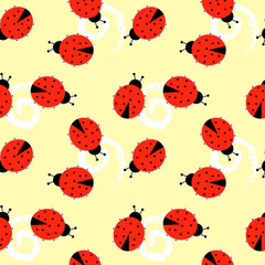 Vector Seamless pattern with ladybugs on black background