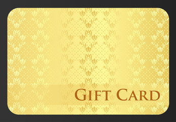 Golden gift card with tulip ornament