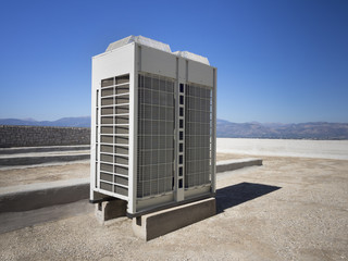 Commercial inverter heat pump on building roof