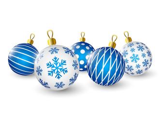 Christmas blue balls on white background